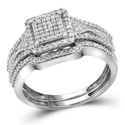 0.40 CTW Diamond Cluster Bridal Engagement Ring 10KT White Gold - REF-37Y5X