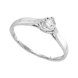 0.08 CTW Diamond Solitaire Bridal Ring 10KT White Gold - REF-10K5W