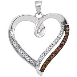 0.15 CTW Cognac-brown Color Diamond Heart Love Pendant 10KT White Gold - REF-18H2M