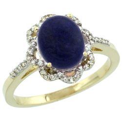 Natural 1.89 ctw Lapis & Diamond Engagement Ring 14K Yellow Gold - REF-36N7G
