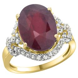 Natural 6.41 ctw ruby & Diamond Engagement Ring 14K Yellow Gold - REF-96X3A
