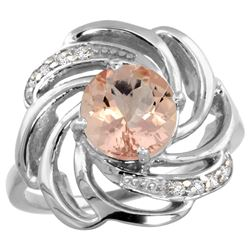 Natural 1.75 ctw morganite & Diamond Engagement Ring 14K White Gold - REF-70X5A