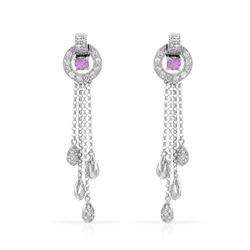1.05 CTW Pink Sapphire & Diamond Earrings 14K White Gold - REF-61F7N