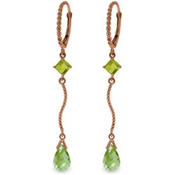 Genuine 3.5 ctw Peridot Earrings Jewelry 14KT Rose Gold - REF-33H8X