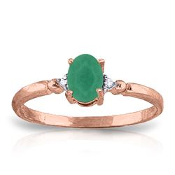 Genuine 0.51 ctw Emerald & Diamond Ring Jewelry 14KT Rose Gold - REF-30Z5N