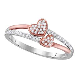 0.15 CTW Diamond Double Heart Love Ring 10KT Two-tone Gold - REF-18Y2X