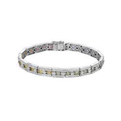 8.86 CTW Multi-Color Sapphire & Diamond Bracelet 14K White Gold - REF-218W6H