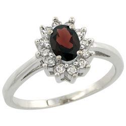 Natural 0.67 ctw Garnet & Diamond Engagement Ring 10K White Gold - REF-38A8V
