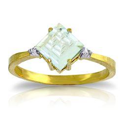 Genuine 1.77 ctw Aquamarine & Diamond Ring Jewelry 14KT Yellow Gold - REF-33X8M