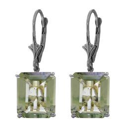 Genuine 13 ctw Green Amethyst Earrings Jewelry 14KT White Gold - REF-54V2W