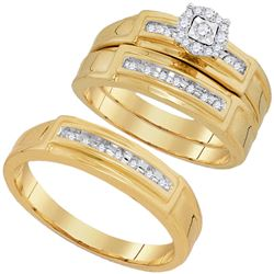 0.25 CTW His & Hers Diamond Solitaire Matching Bridal Ring 10KT Yellow Gold - REF-52F4N
