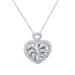 0.30 CTW Diamond Necklace 18K White Gold - REF-58N4Y