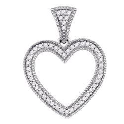 0.15 CTW Diamond Heart Love Pendant 10KT White Gold - REF-19H4M