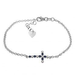 Genuine 0.24 ctw Sapphire & Diamond Bracelet Jewelry 14KT White Gold - REF-57M6T