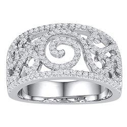 0.63 CTW Diamond Swirl Filigree Ring 10KT White Gold - REF-57X2Y