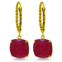 Genuine 13.5 ctw Ruby Earrings Jewelry 14KT Yellow Gold - REF-121X7M