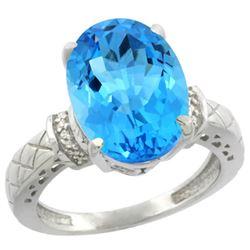 Natural 5.53 ctw Swiss-blue-topaz & Diamond Engagement Ring 14K White Gold - REF-60K3R