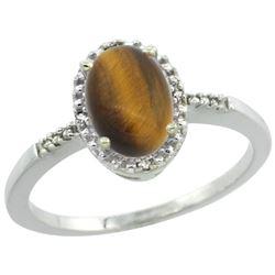 Natural 1.06 ctw Tiger-eye & Diamond Engagement Ring 14K White Gold - REF-22Z3Y