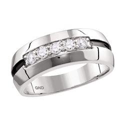 0.50 CTW Mens Diamond Wedding Black Groove Ring 10KT White Gold - REF-71F9N