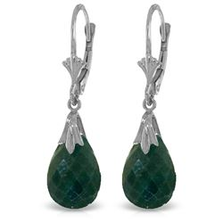 Genuine 8 ctw Created Green Sapphire Earrings Jewelry 14KT White Gold - REF-34T3A