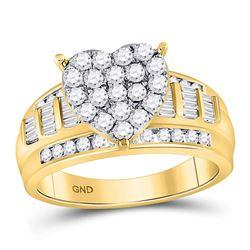 1.03 CTW Diamond Heart Bridal Engagement Ring 10KT Yellow Gold - REF-71M3H