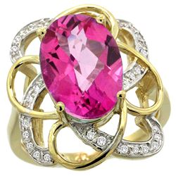 Natural 5.59 ctw pink-topaz & Diamond Engagement Ring 14K Yellow Gold - REF-59R6Z