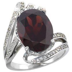 Natural 6.78 ctw garnet & Diamond Engagement Ring 14K White Gold - REF-101K5R