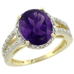 Natural 3.47 ctw Amethyst & Diamond Engagement Ring 10K Yellow Gold - REF-34M7H
