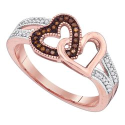 0.15 CTW Red Color Diamond Double Heart Love Ring 10KT Rose Gold - REF-22M4H
