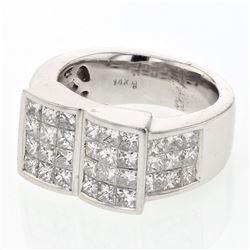 2.91 CTW Princess Diamond Ring 14K White Gold - REF-310K3W
