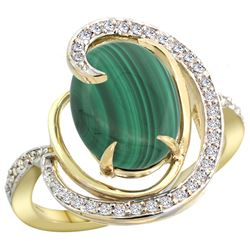 Natural 5.03 ctw malachite & Diamond Engagement Ring 14K Yellow Gold - REF-66A2V