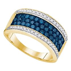 1 CTW Blue Color Diamond Triple Ring 10KT Yellow Gold - REF-44W9K