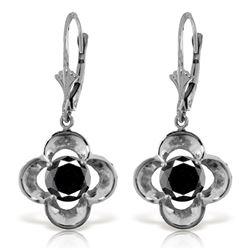 Genuine 1.0 ctw Black Diamond Earrings Jewelry 14KT White Gold - REF-76A2K