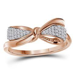 0.12 CTW Diamond Ribbon Bow Knot Ring 10KT Rose Gold - REF-18H7M