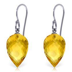 Genuine 19 ctw Citrine Earrings Jewelry 14KT White Gold - REF-28Z4N