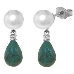 Genuine 8.7 ctw Pearl, Green Sapphire Corundum & Diamond Earrings Jewelry 14KT White Gold - REF-27X6