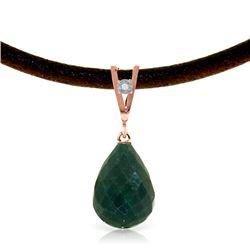 Genuine 15.51 ctw Green Sapphire Corundum & Diamond Necklace Jewelry 14KT Rose Gold - REF-30A2K