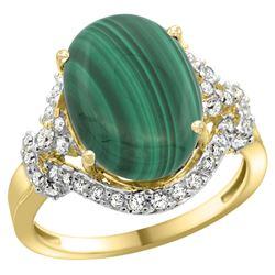 Natural 7.41 ctw malachite & Diamond Engagement Ring 14K Yellow Gold - REF-82H7W
