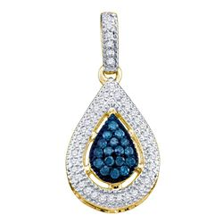 0.20 CTW Blue Color Diamond Teardrop Cluster Pendant 14KT Yellow Gold - REF-20F9N