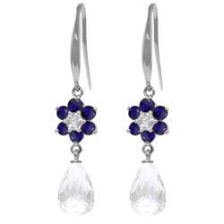 Genuine 5.51 ctw Sapphire, White Topaz & Diamond Earrings Jewelry 14KT White Gold - REF-49N8R