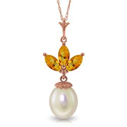 Genuine 4.75 ctw Citrine & Pearl Necklace Jewelry 14KT Rose Gold - REF-24V3W