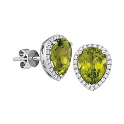 1.6 CTW Pear Peridot Solitaire Diamond Earrings 14KT White Gold - REF-65F9N
