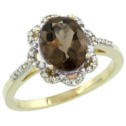 Natural 1.85 ctw Smoky-topaz & Diamond Engagement Ring 10K Yellow Gold - REF-29R3Z