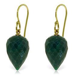 Genuine 25.8 ctw Green Sapphire Corundum Earrings Jewelry 14KT Yellow Gold - REF-25A6K