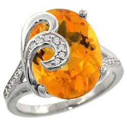 Natural 11.18 ctw citrine & Diamond Engagement Ring 14K White Gold - REF-82H2W