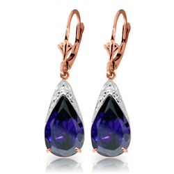 Genuine 9.3 ctw Sapphire Earrings Jewelry 14KT Rose Gold - REF-87K3V