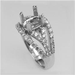 0.91 CTW Diamond Semi Mount Ring 14K White Gold - REF-110N3Y