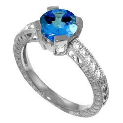 Genuine 1.80 ctw Blue Topaz & Diamond Ring Jewelry 14KT White Gold - REF-98W3Y