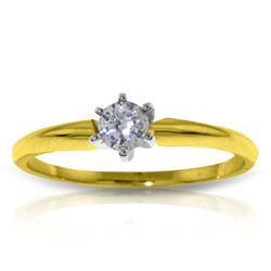 Genuine 0.15 ctw Diamond Anniversary Ring Jewelry 14KT Yellow Gold - REF-44T4A