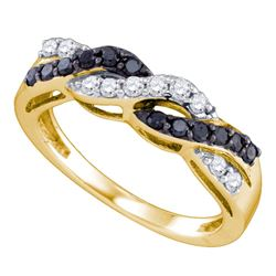 0.45 CTW Black Color Diamond Crossover Ring 10KT Yellow Gold - REF-32X9Y